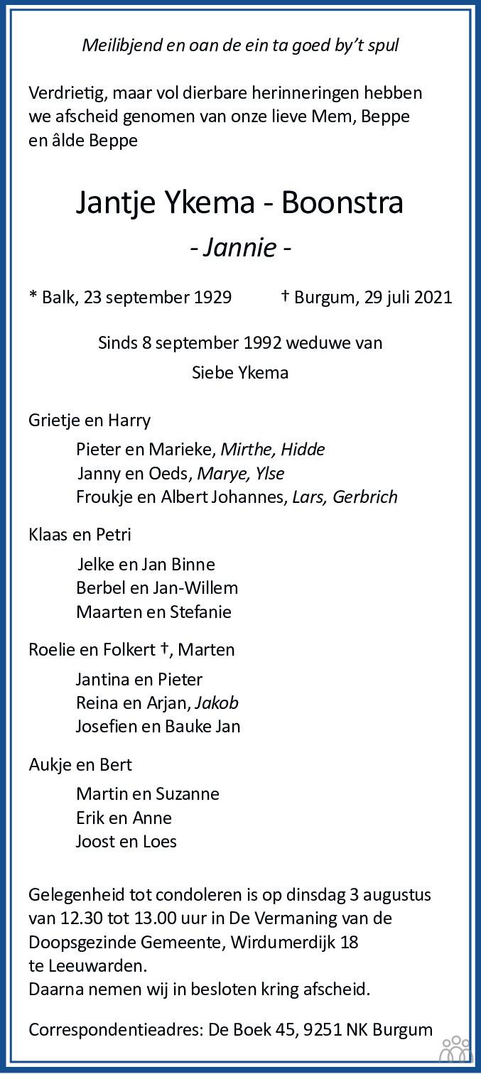 Overlijdensbericht van Jantje (Jannie) Ykema-Boonstra in Leeuwarder Courant
