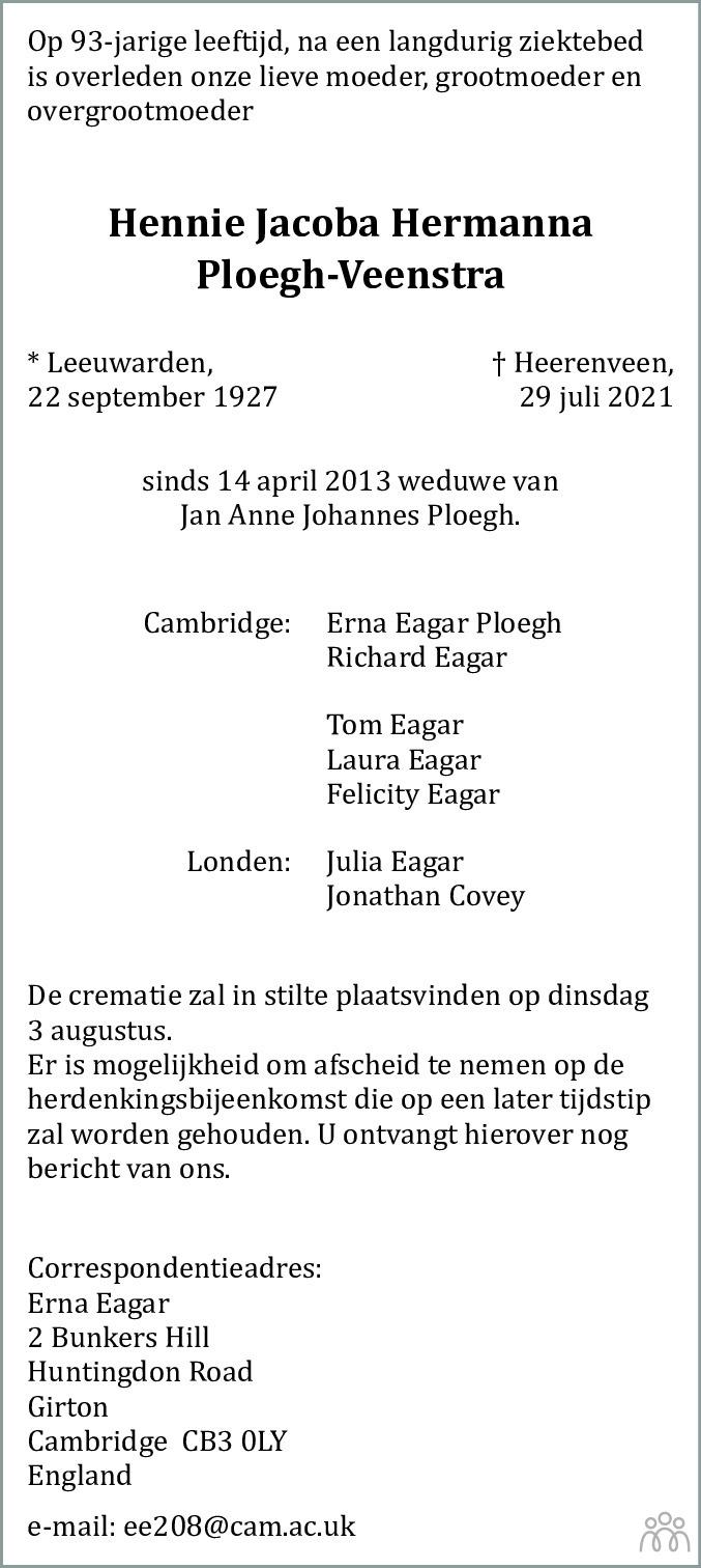 Overlijdensbericht van Hennie Jacoba Hermanna Ploegh-Veenstra in Leeuwarder Courant
