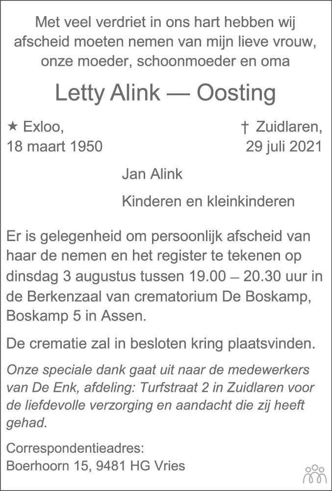 Overlijdensbericht van Letty Alink-Oosting in Dagblad van het Noorden