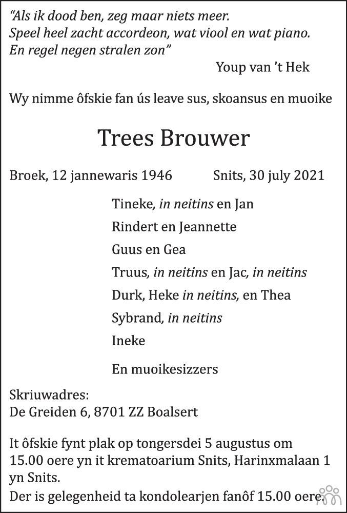 Overlijdensbericht van Trees Brouwer in Leeuwarder Courant