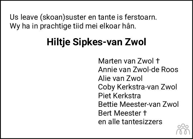 Overlijdensbericht van Hiltje Sipkes-van Zwol in Leeuwarder Courant