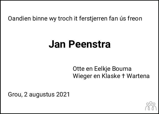 Overlijdensbericht van Jan Peenstra in Leeuwarder Courant