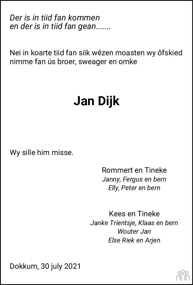 Overlijdensbericht van Jan Dijk in Nieuwsblad Noordoost-Friesland