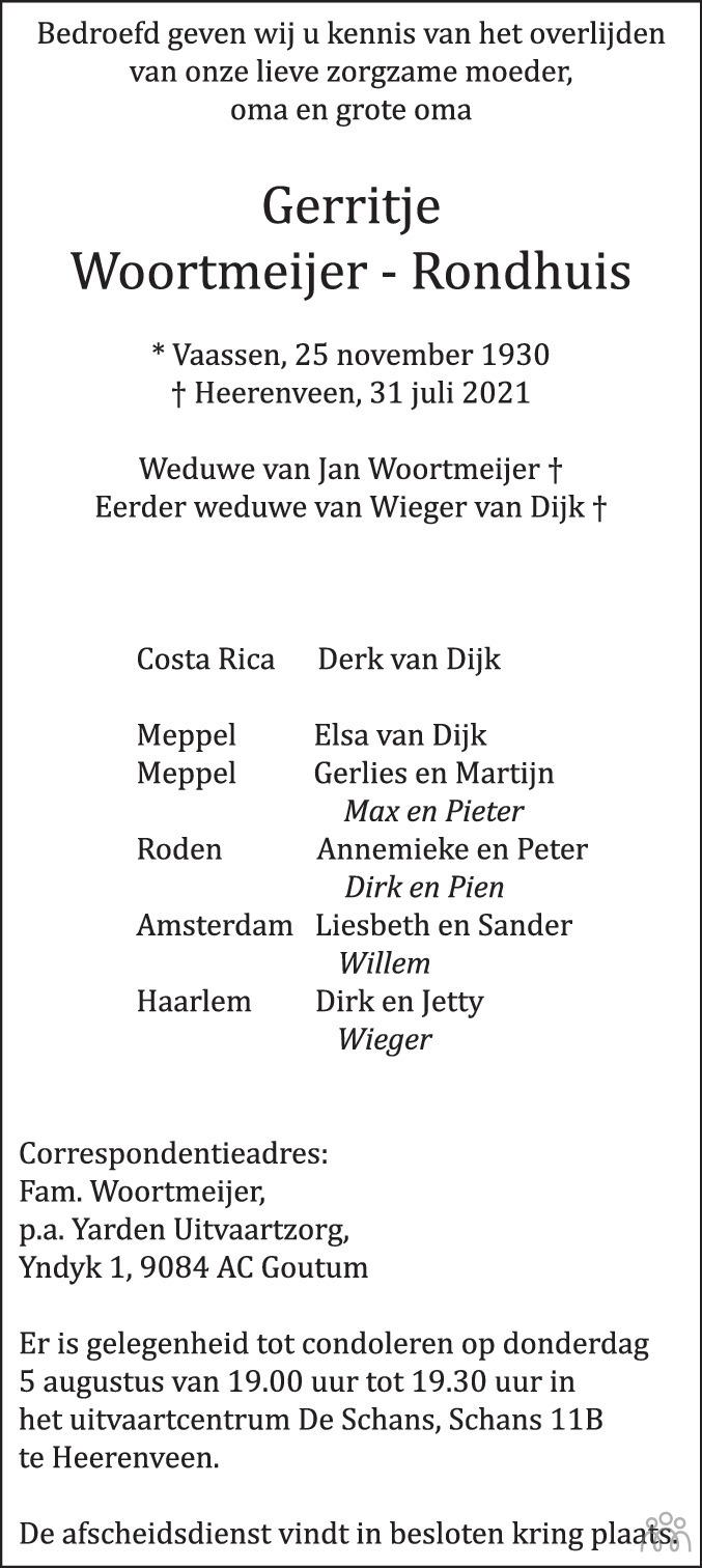 Overlijdensbericht van Gerritje Woortmeijer-Rondhuis in Leeuwarder Courant