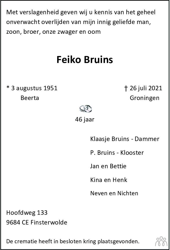 Overlijdensbericht van Feiko Bruins in Streekblad/Pekelder Streekblad