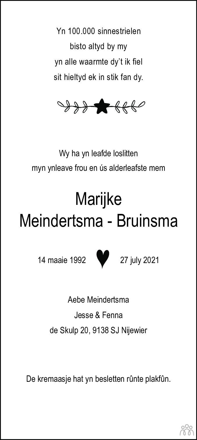 Overlijdensbericht van Marijke Meindertsma-Bruinsma in Dockumer Courant