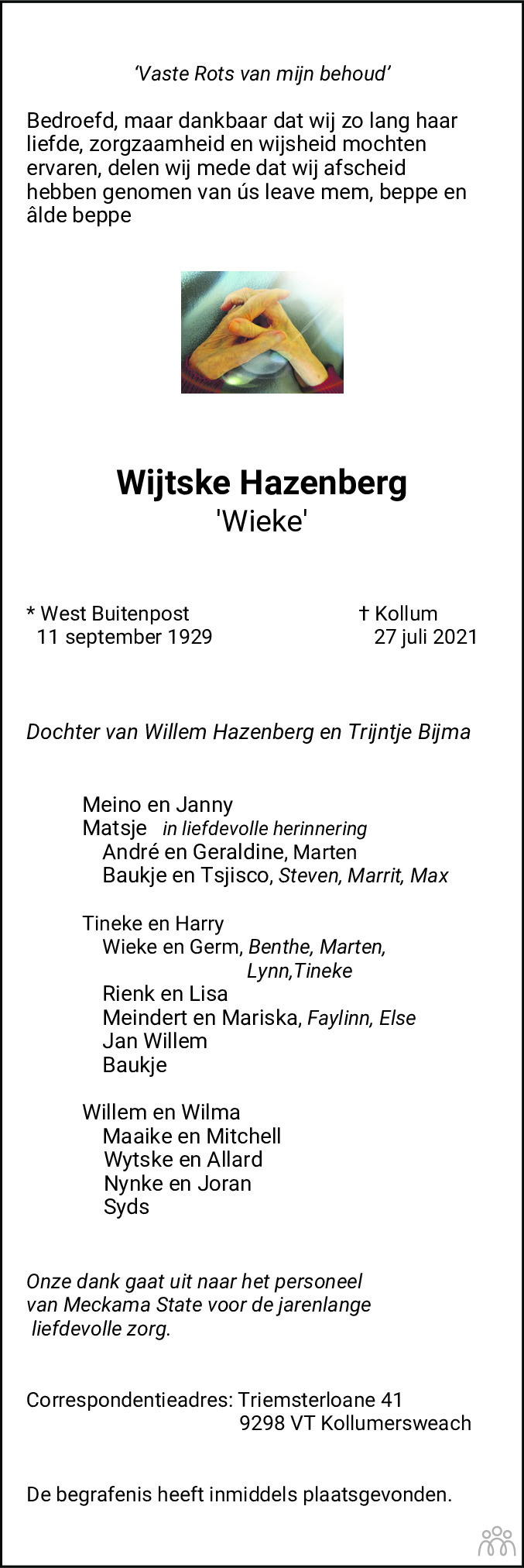 Overlijdensbericht van Wijtske (Wieke) Hazenberg in Dockumer Courant