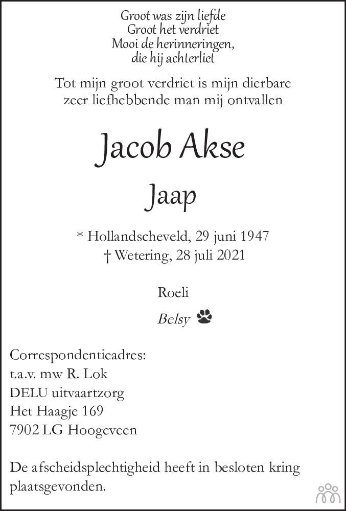 Overlijdensbericht van Jacob (Jaap) Akse in Hoogeveensche Courant