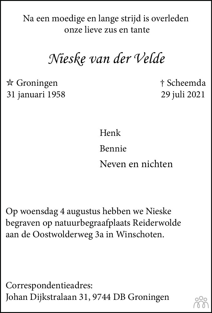 Overlijdensbericht van Nieske van der Velde in HS-krant