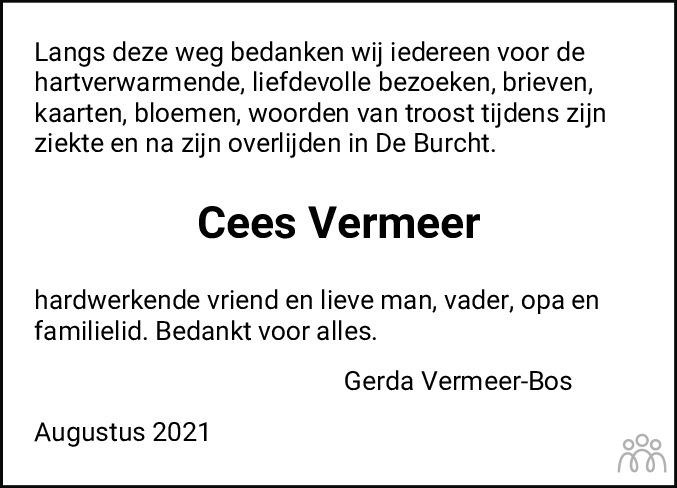Overlijdensbericht van Cornelis (Cees) Vermeer in HS-krant