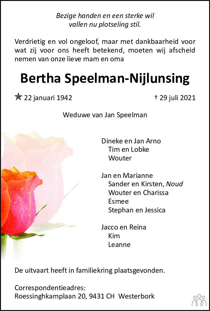 Overlijdensbericht van Bertha Speelman-Nijlunsing in De krant van Midden-Drenthe