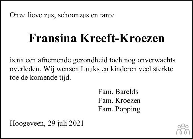 Overlijdensbericht van Fransina (Sina) Kreeft-Kroezen in Hoogeveensche Courant