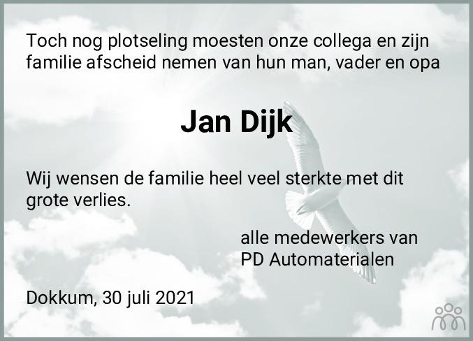 Overlijdensbericht van Jan Dijk in Dockumer Courant