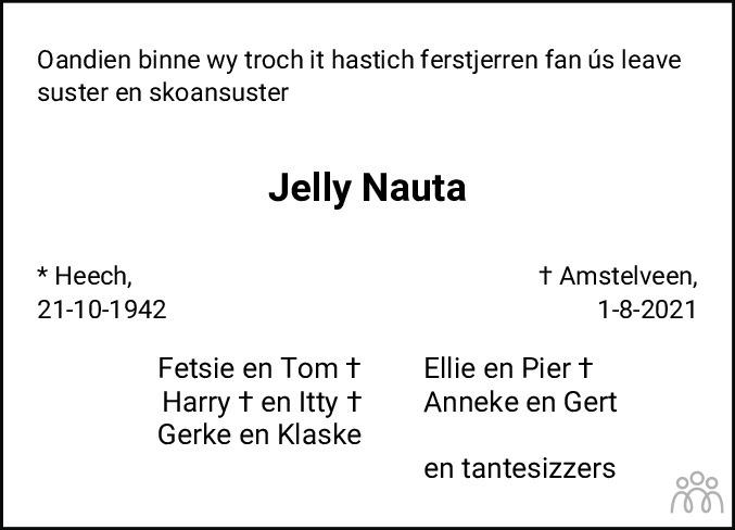 Overlijdensbericht van Jelly Nauta in Leeuwarder Courant