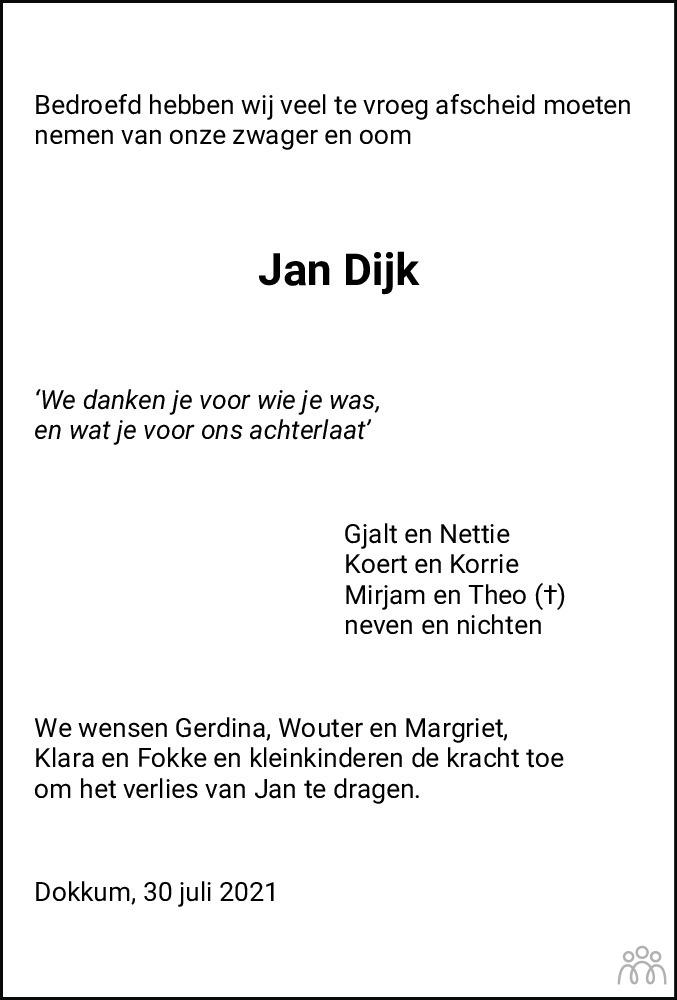 Overlijdensbericht van Jan Dijk in Leeuwarder Courant