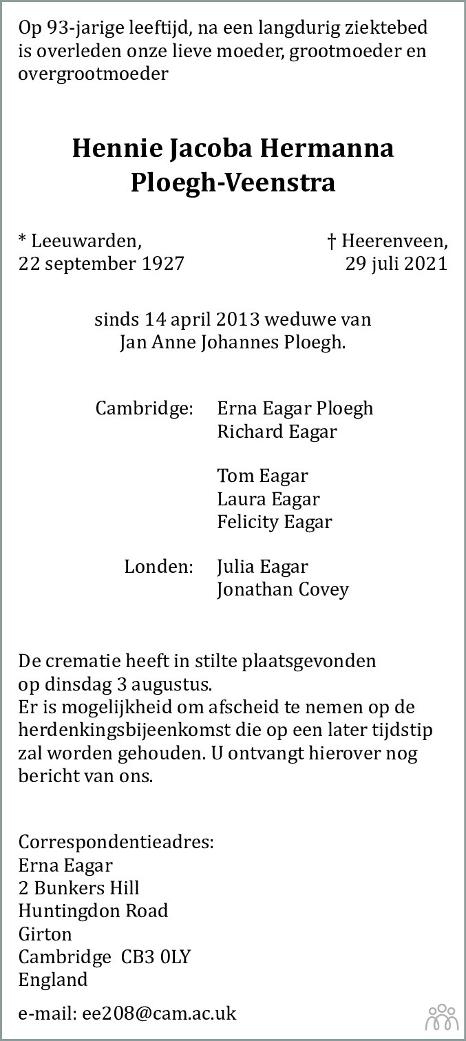 Overlijdensbericht van Hennie Jacoba Hermanna Ploegh-Veenstra in Heerenveense Courant