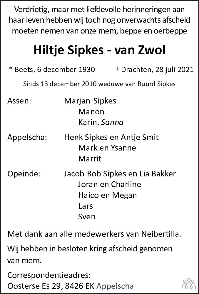 Overlijdensbericht van Hiltje Sipkes-van Zwol in Nieuwe Ooststellingwerver