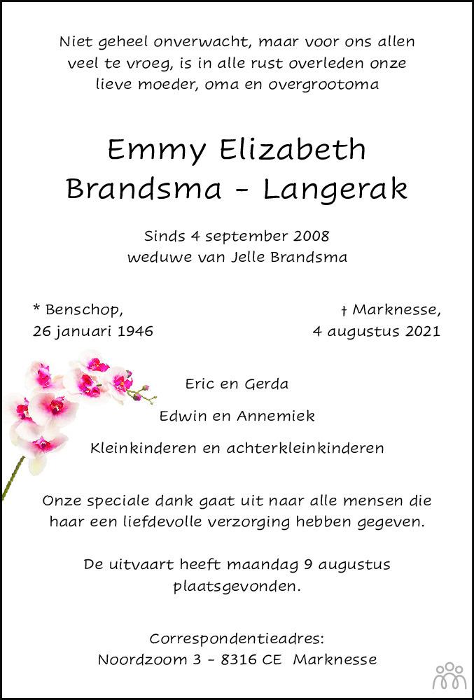 Overlijdensbericht van Emmy Elizabeth Brandsma-Langerak in Noordoostpolder