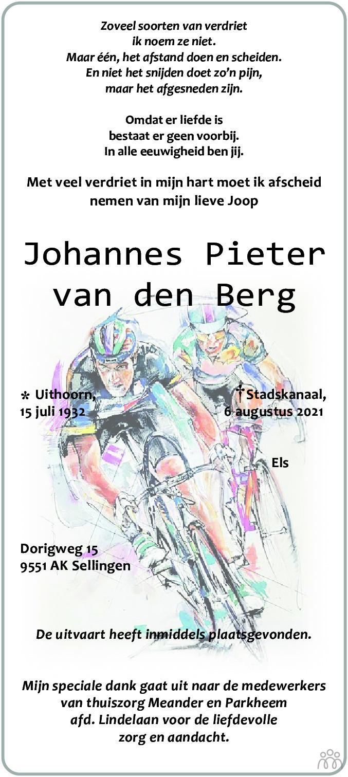 Overlijdensbericht van Johannes Pieter van den Berg in Kanaalstreek Ter Apeler Courant