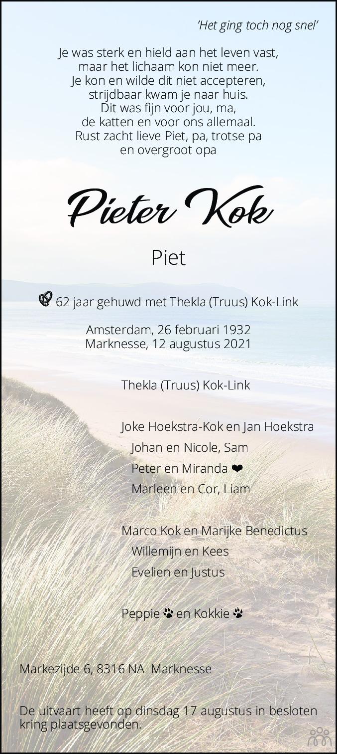 Overlijdensbericht van Pieter (Piet) Kok in Noordoostpolder