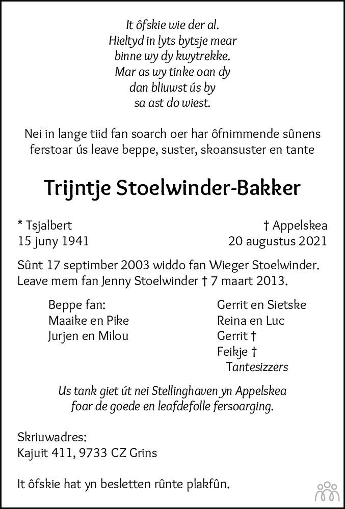 Overlijdensbericht van Trijntje Stoelwinder-Bakker in Leeuwarder Courant