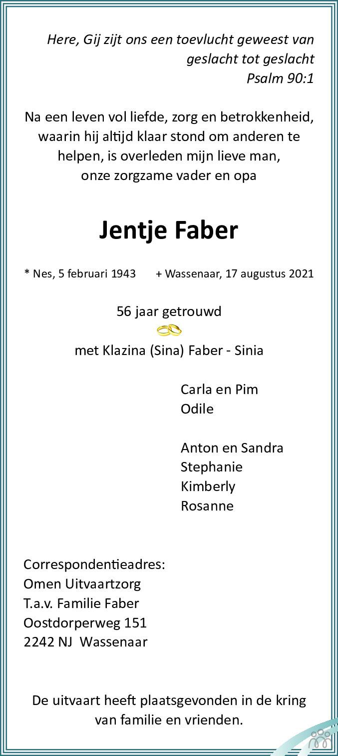 Overlijdensbericht van Jentje Faber in Friesch Dagblad