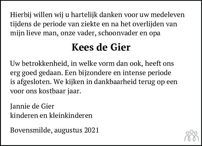 Overlijdensbericht van Kees (Cornelis Engel) de Gierde in Dagblad van het Noorden