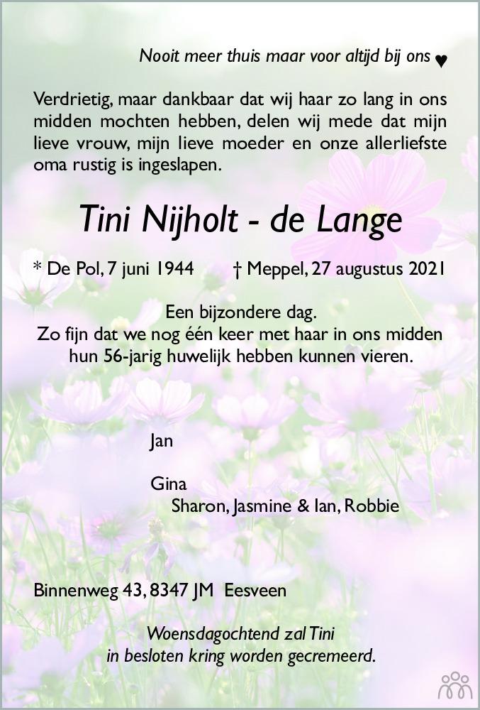 Overlijdensbericht van Tini Nijholt-de Lange in Meppeler Courant