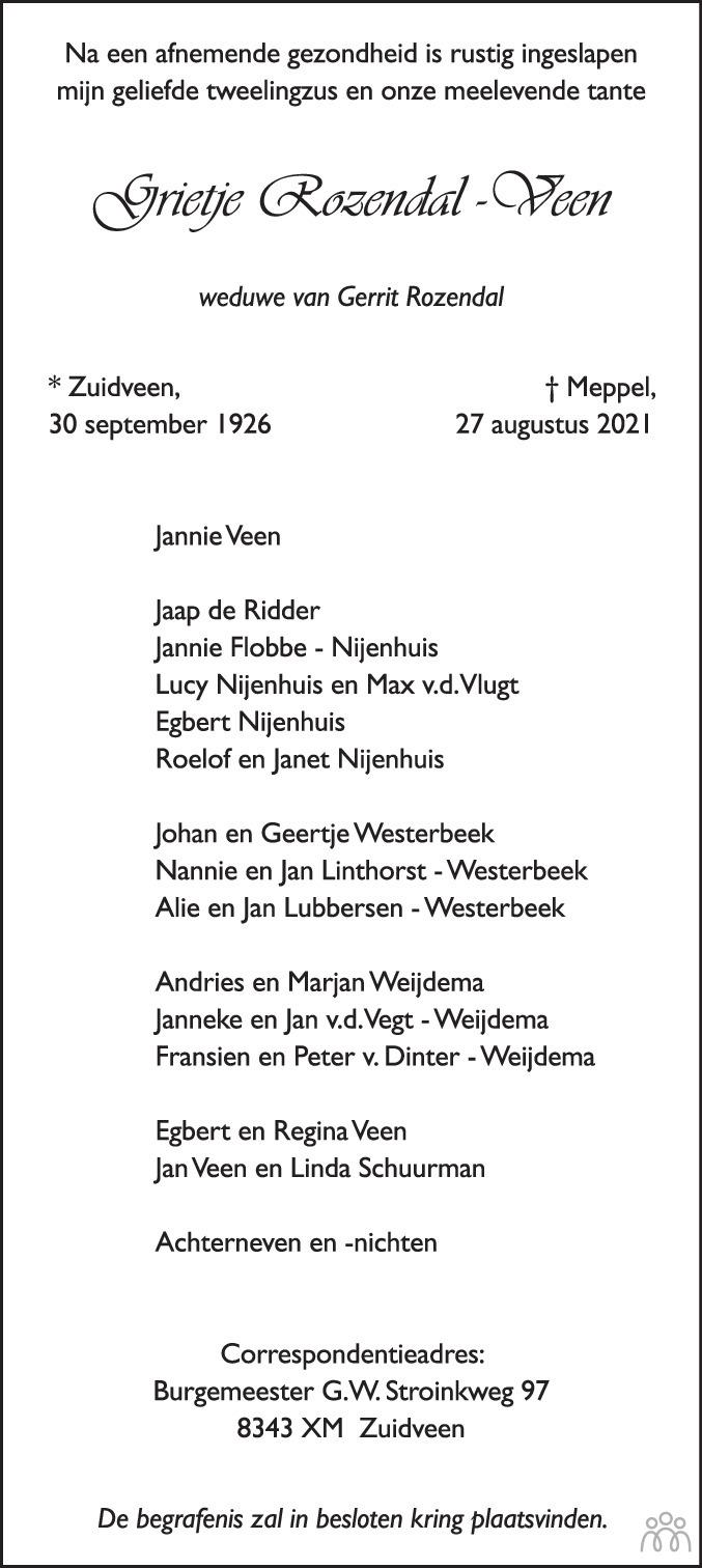 Overlijdensbericht van Grietje Rozendal-Veen in Steenwijker Courant