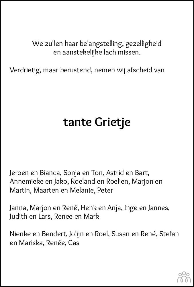 Overlijdensbericht van Grietje Rozendal-Veen in Meppeler Courant