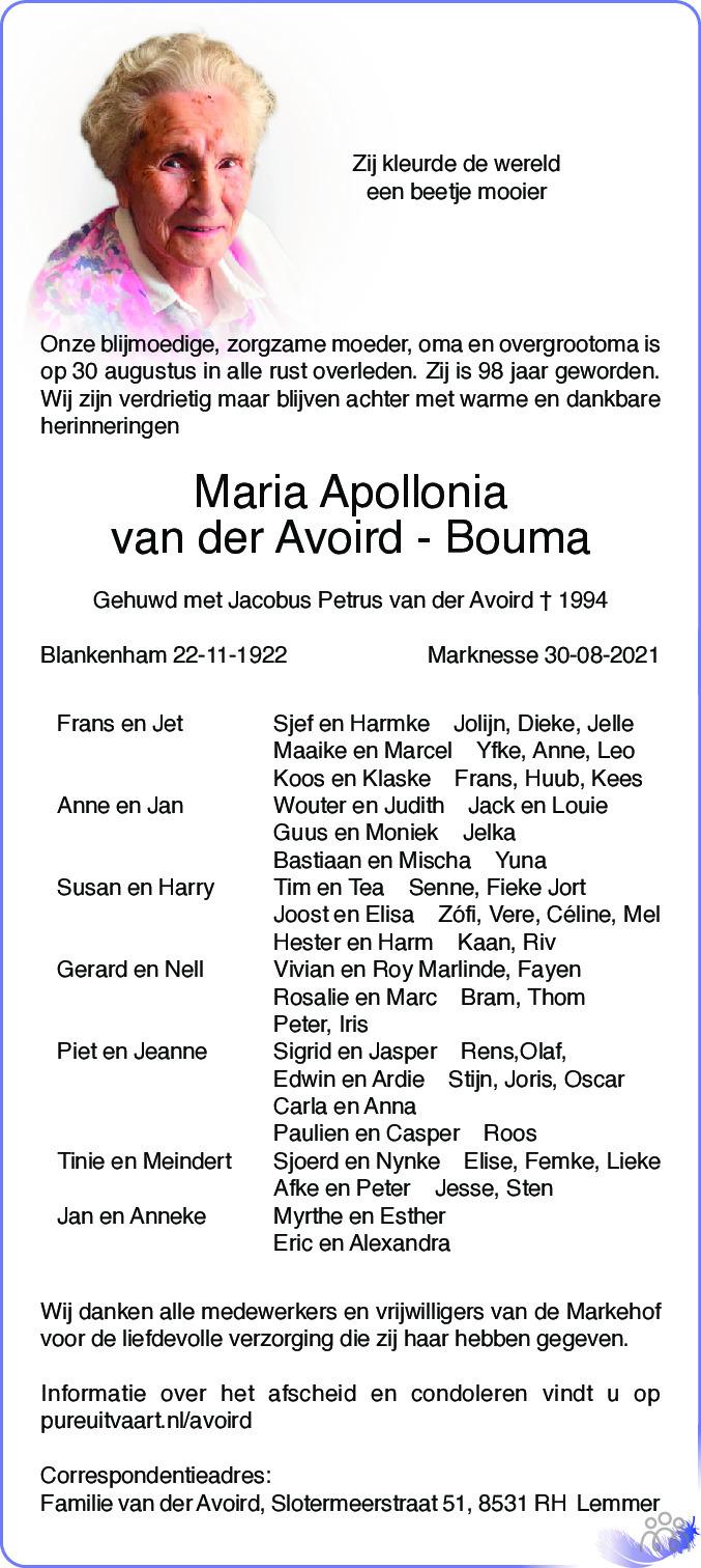 Overlijdensbericht van Maria Apollonia van der Avoird-Bouma in Noordoostpolder