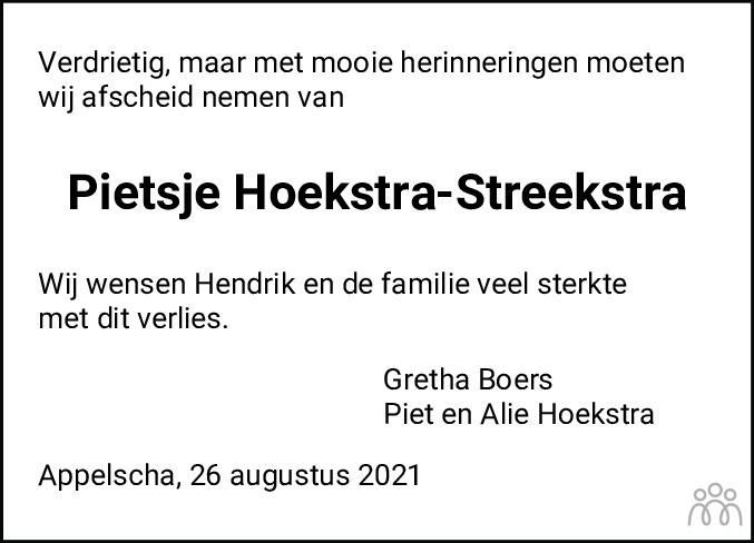 Overlijdensbericht van Pietje Hoekstra-Streekstra in Nieuwe Ooststellingwerver