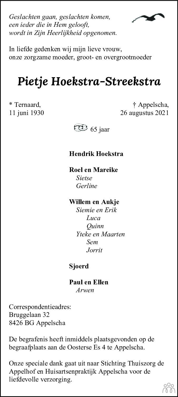 Overlijdensbericht van Pietje Hoekstra-Streekstra in Friesch Dagblad