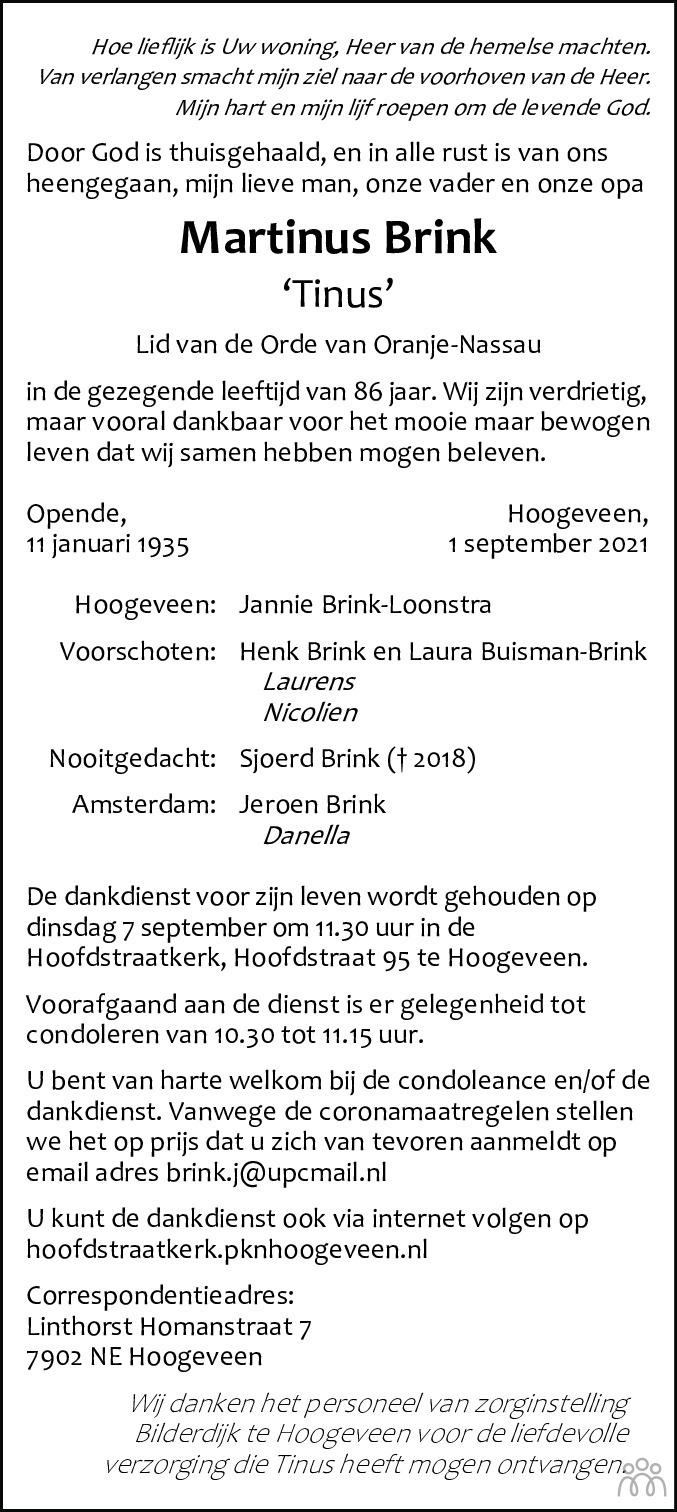 Overlijdensbericht van Martinus (Tinus) Brink in Hoogeveensche Courant