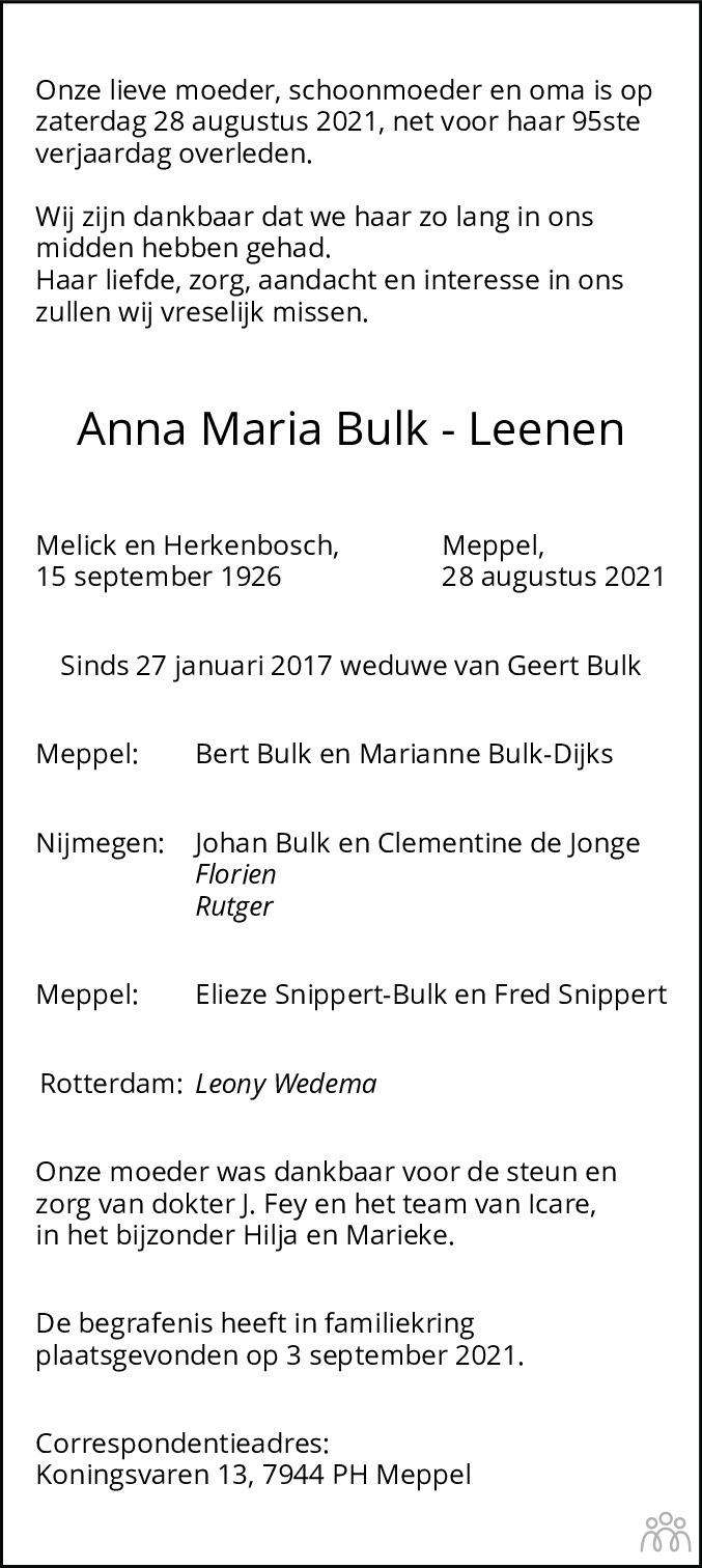 Overlijdensbericht van Anna Maria Bulk-Leenen in Dagblad van het Noorden