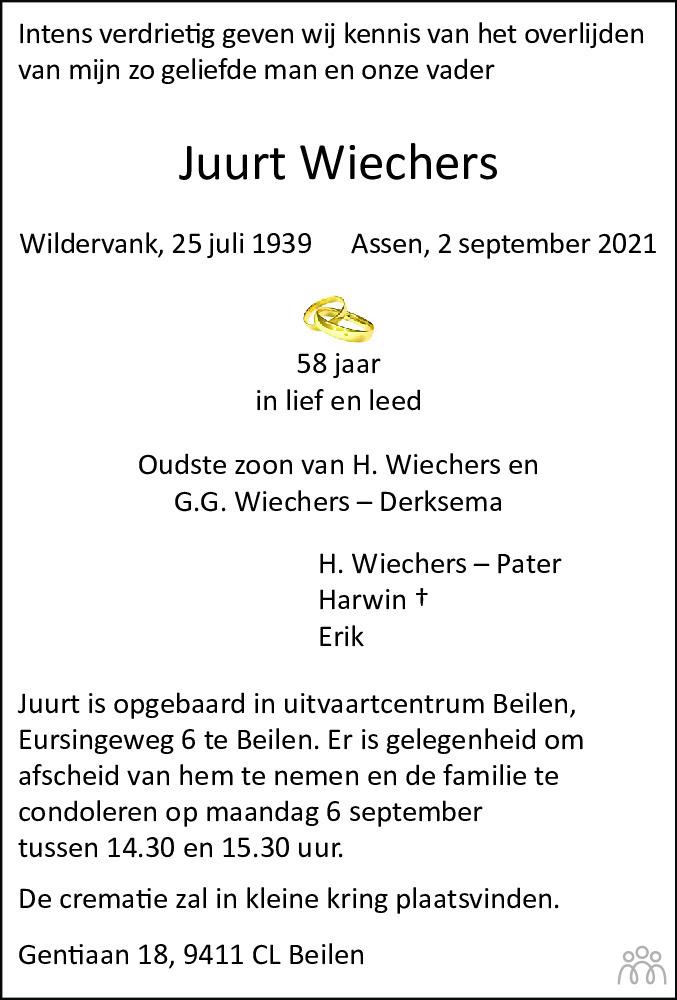 Overlijdensbericht van Juurt Wiechers in Dagblad van het Noorden