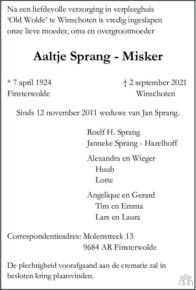 Overlijdensbericht van Aaltje Sprang-Misker in Dagblad van het Noorden