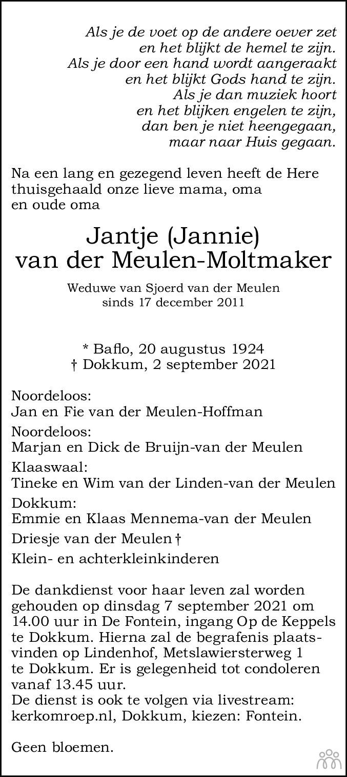Overlijdensbericht van Jantje (Jannie) van der Meulen-Moltmaker in Friesch Dagblad