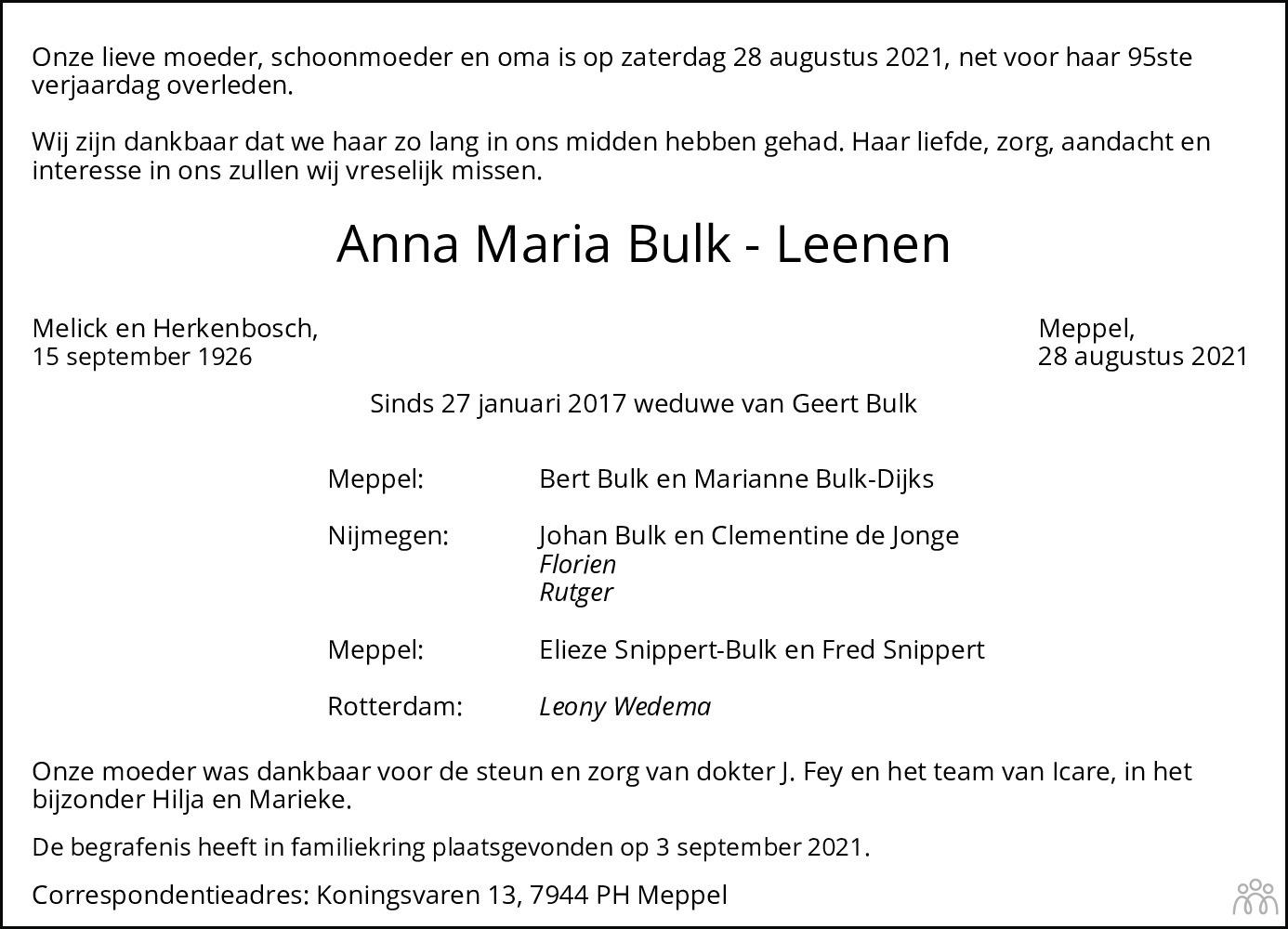 Overlijdensbericht van Anna Maria Bulk-Leenen in Meppeler Courant