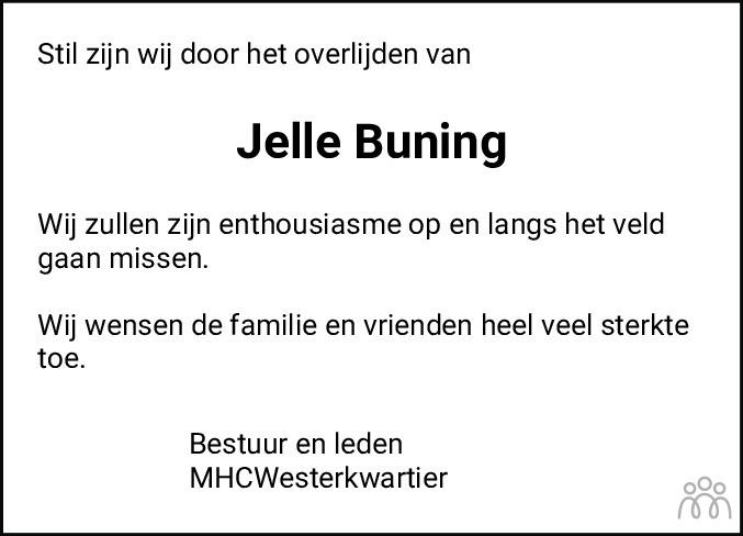 Overlijdensbericht van Jelle Buning in Dagblad van het Noorden
