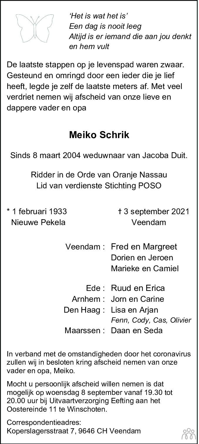 Overlijdensbericht van Meiko Schrik in Dagblad van het Noorden
