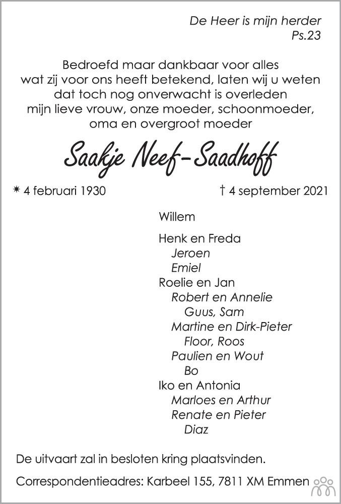 Overlijdensbericht van Saakje Neef-Saadhoff in Dagblad van het Noorden