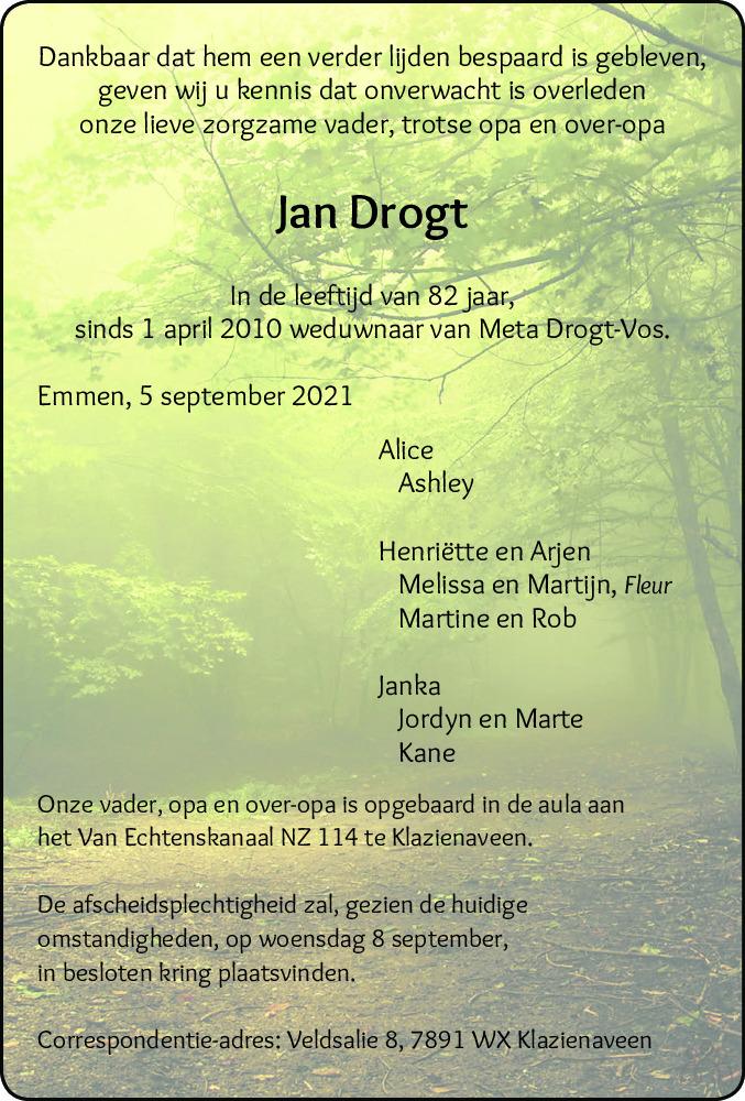 Overlijdensbericht van Jan Drogt in Dagblad van het Noorden