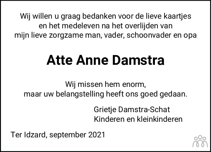 Overlijdensbericht van Atte Anne Damstra in De Stellingwerf