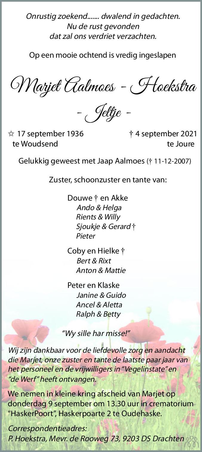 Overlijdensbericht van Marjet (Jeltje) Aalmoes-Hoekstra in Leeuwarder Courant
