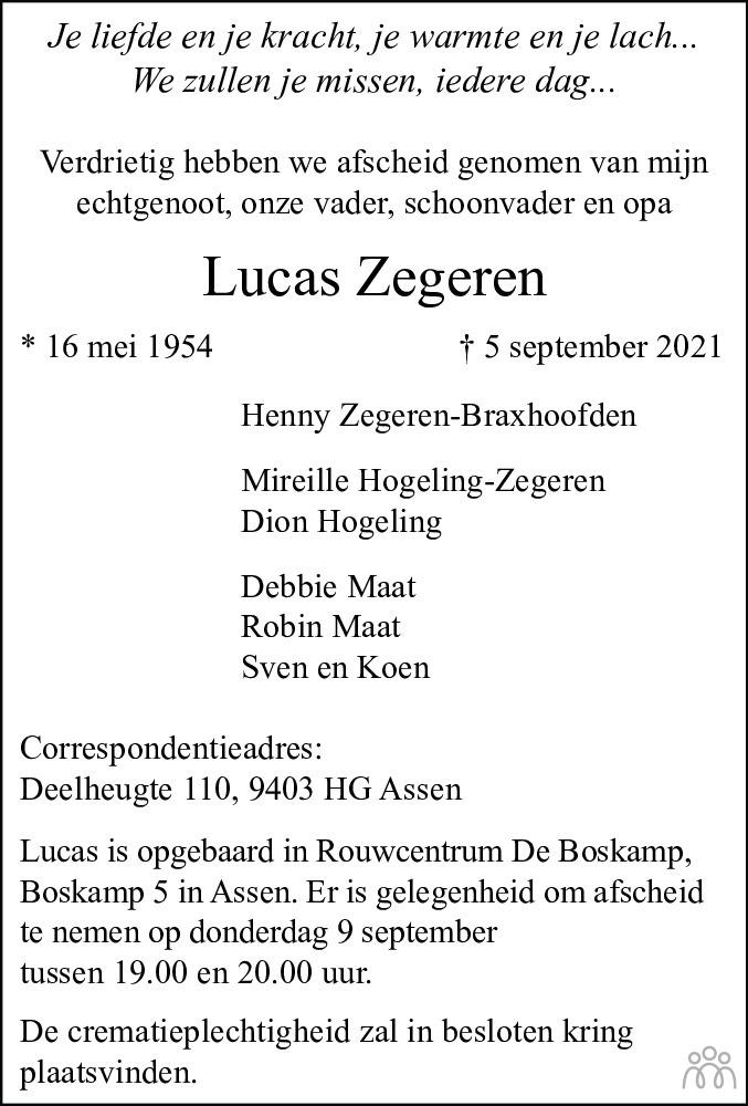 Overlijdensbericht van Lucas Zegeren in Dagblad van het Noorden