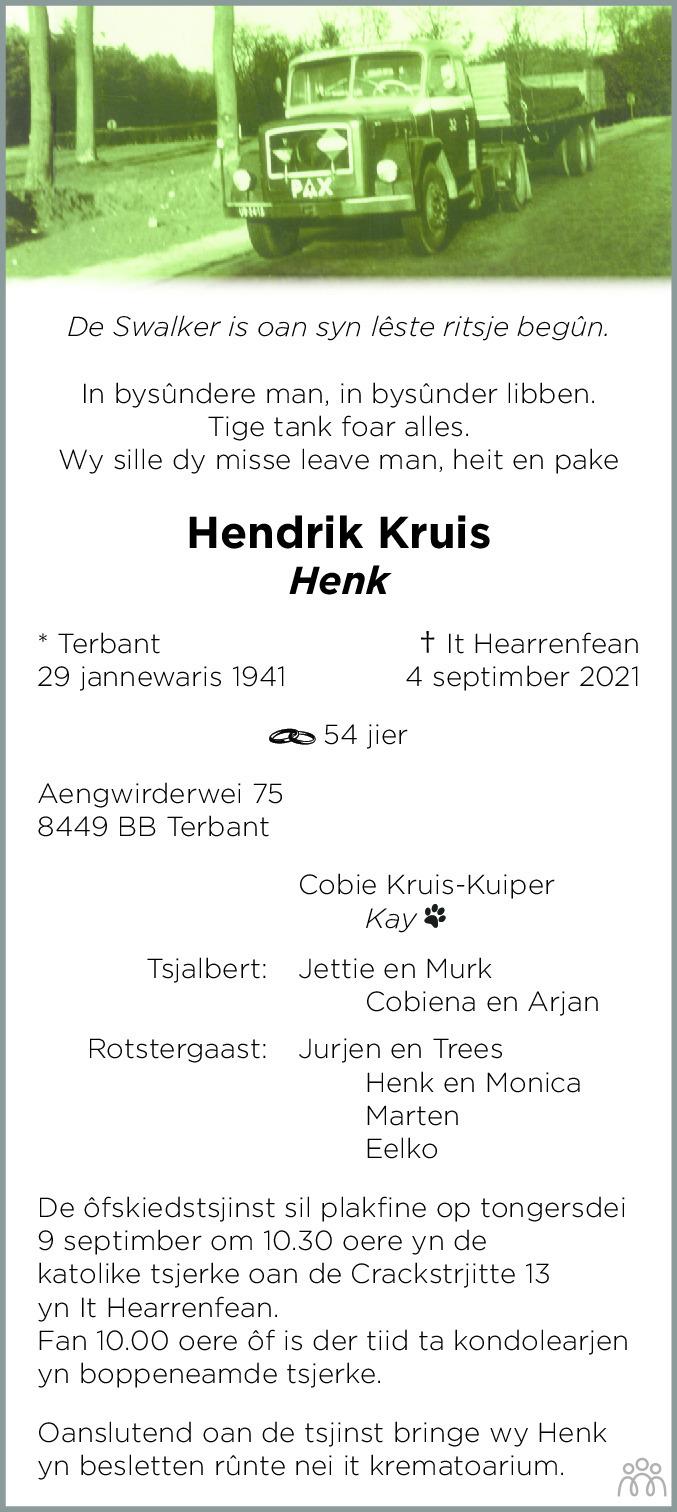 Overlijdensbericht van Hendrik (Henk) Kruis in Leeuwarder Courant