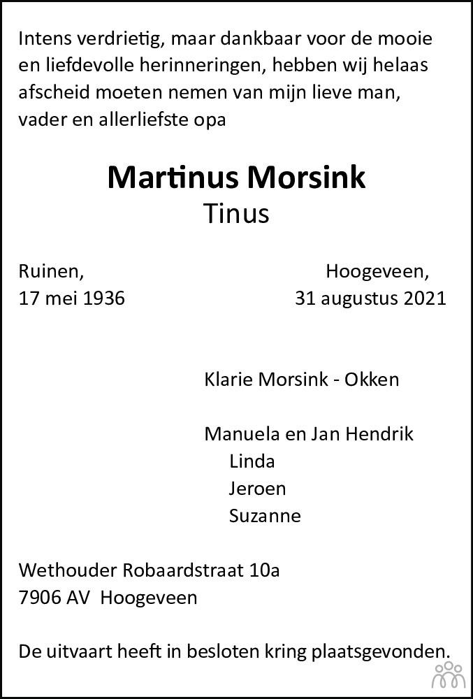 Overlijdensbericht van Martinus (Tinus) Morsink in Hoogeveensche Courant