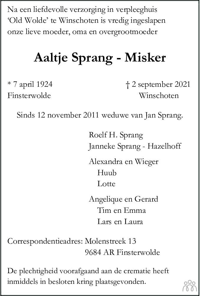 Overlijdensbericht van Aaltje Sprang-Misker in Streekblad/Pekelder Streekblad