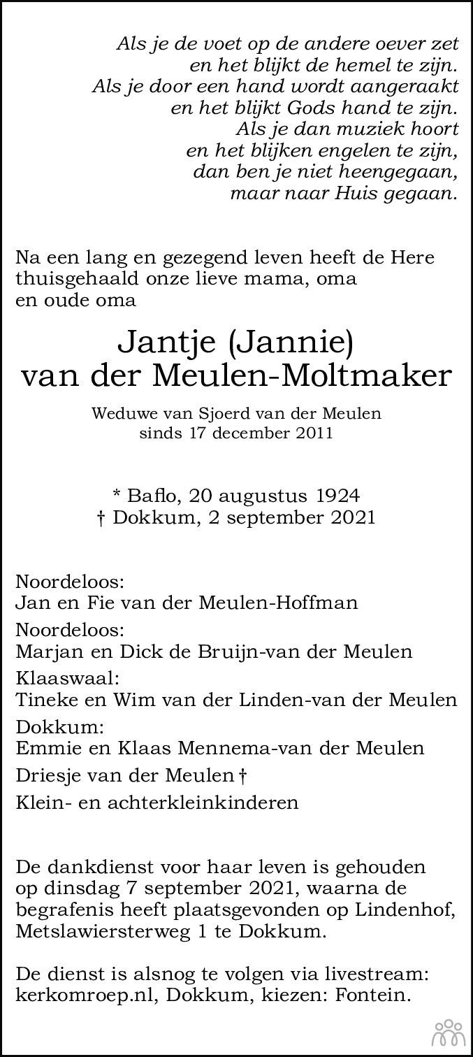 Overlijdensbericht van Jantje (Jannie) van der Meulen-Moltmaker in Dockumer Courant